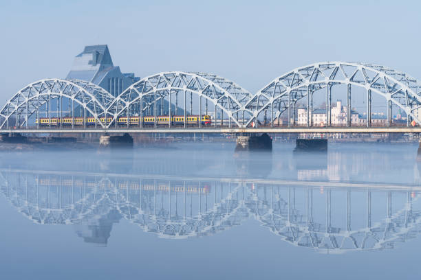 Railway bridge in Riga stock photo