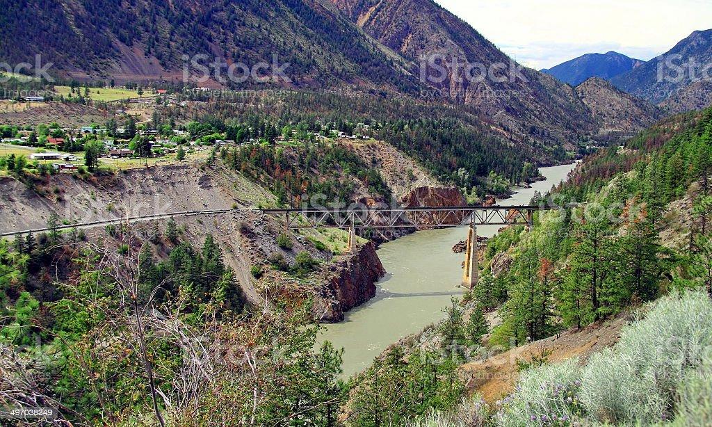 Railway bridge in the mountains stock photo