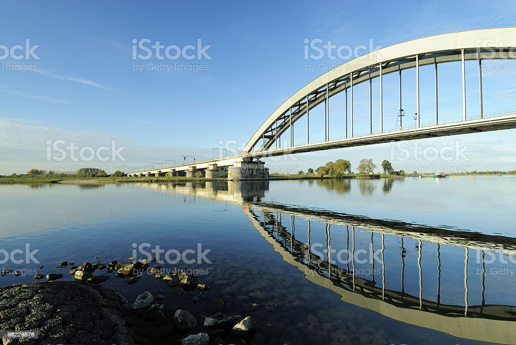 Railway bridge over a river royalty-free stock photo