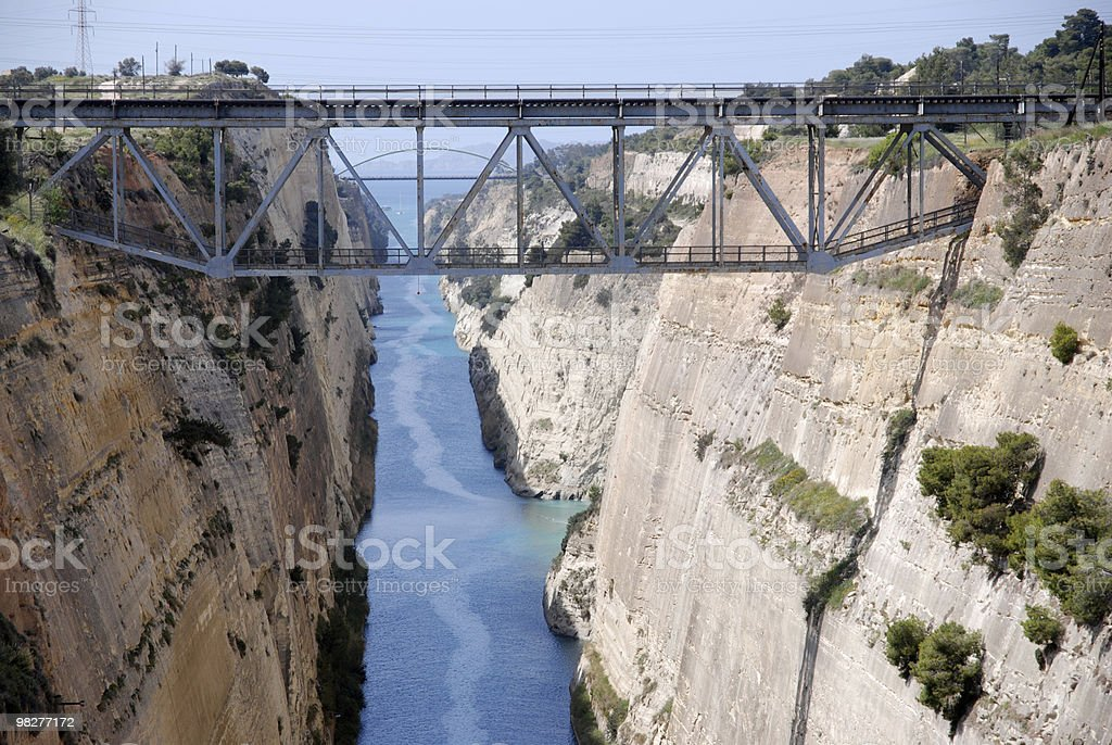 railway bridge over Canal of Corinth stock photo