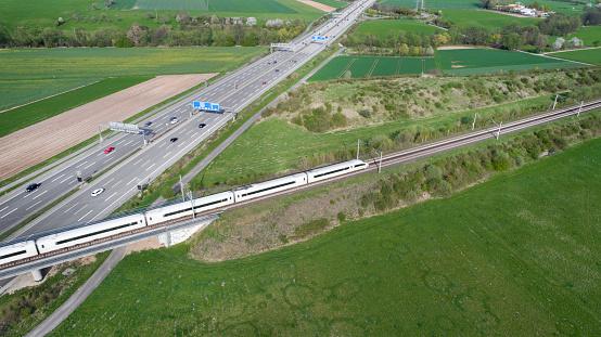 Railway bridge over highway - aerial view