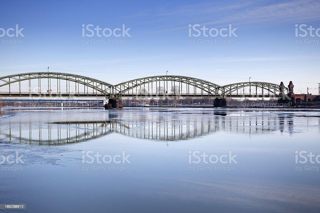 Railway bridge over River Main at Kostheim, Germany stock photo
