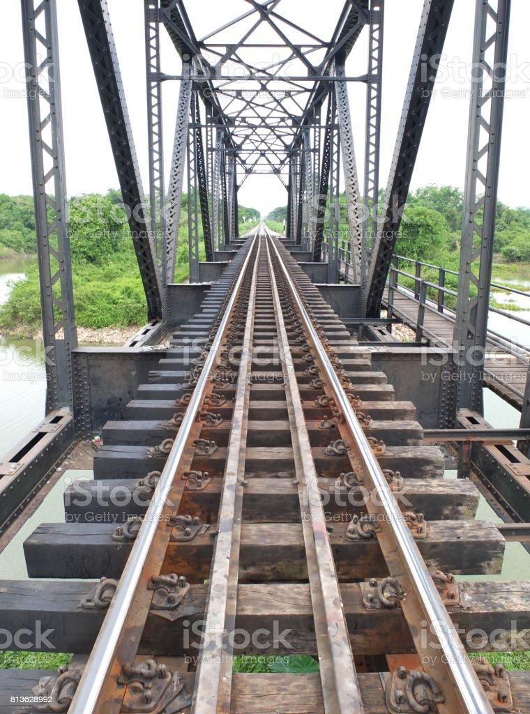 Railway Bridge over the River in thailand. stock photo