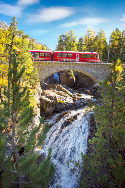 Railway bridge over the waterfall stock photo