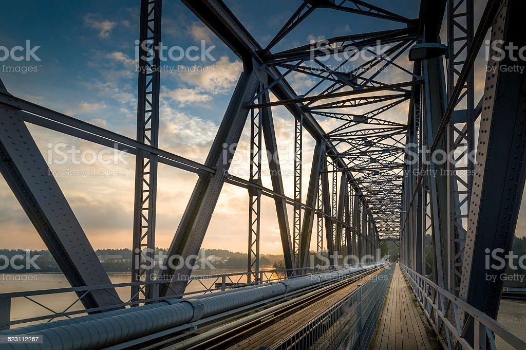 Railway bridge sunrise stock photo