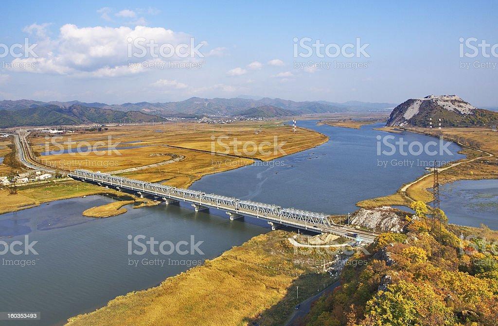 Railway bridge through the river Partizanskaya (Primorsky krai, Russia). royalty-free stock photo