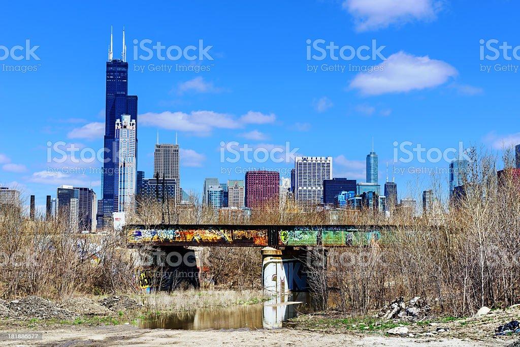 Railway bridge with graffiti in Chicago royalty-free stock photo
