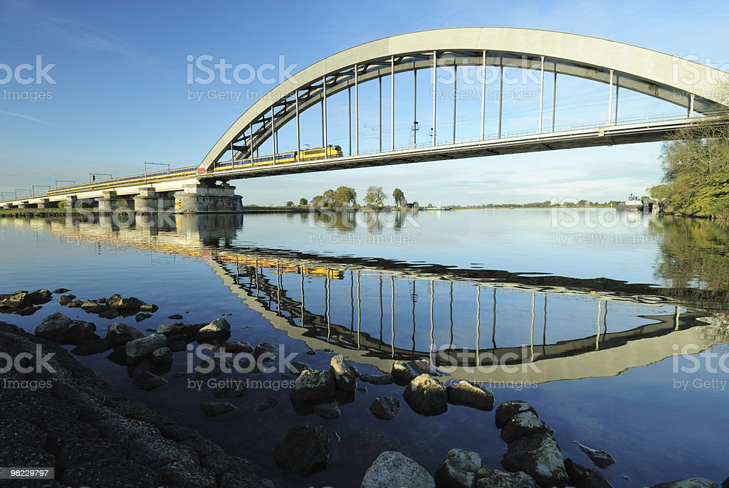 Railway bridge with train royalty-free stock photo
