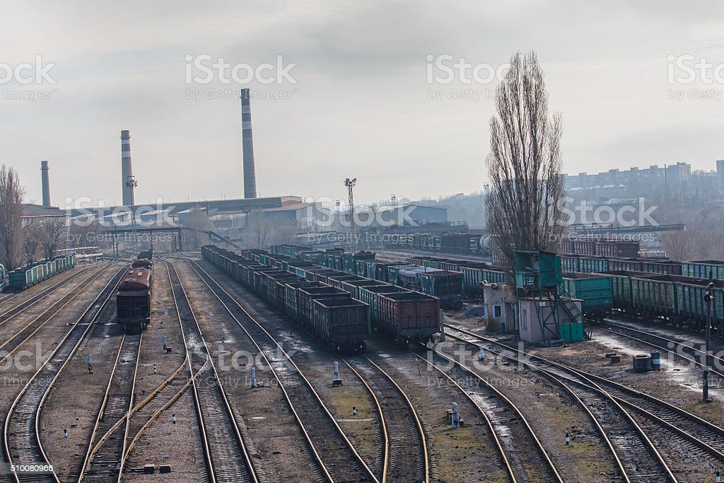 Railway carriages and steel works. Donetsk, Ukraine stock photo