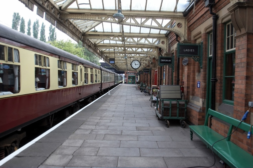Railway carriages at empty station