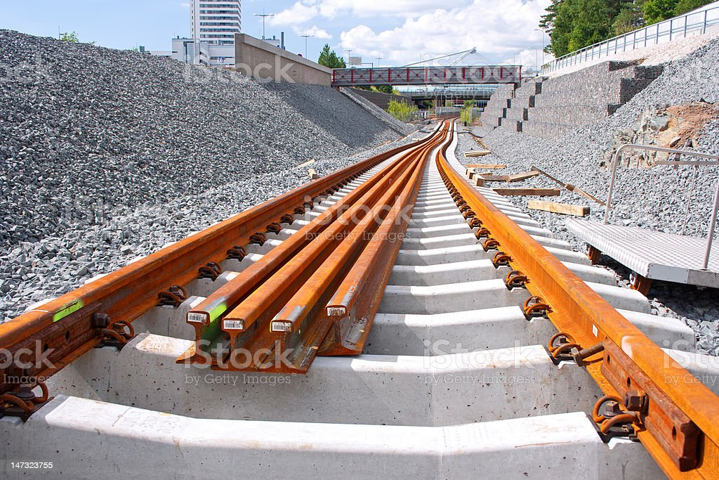 Railway construction site stock photo