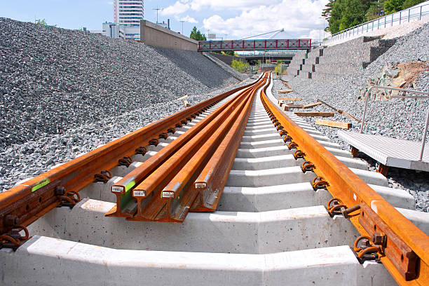 railway construction site - rail stock photos and pictures