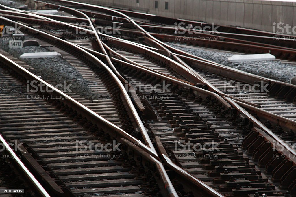 Railway crisscrossing stock photo