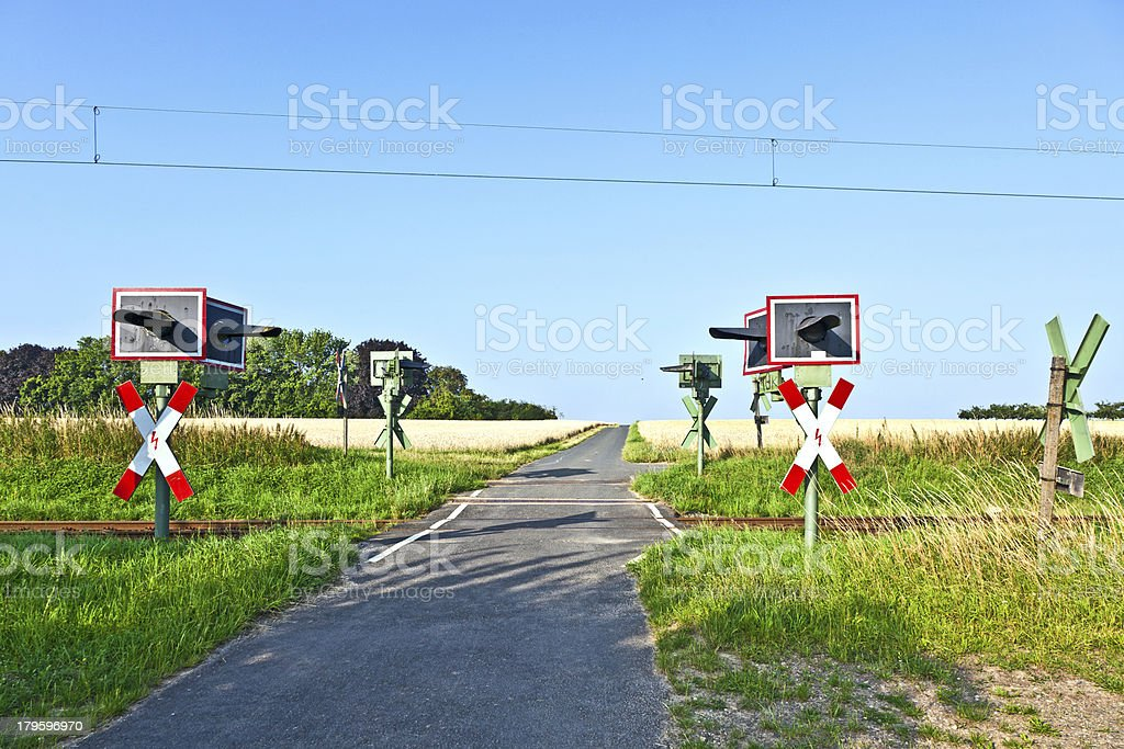 railway crossing in nature royalty-free stock photo