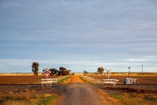 Railway Crossing, Outback Victoria, Australia
