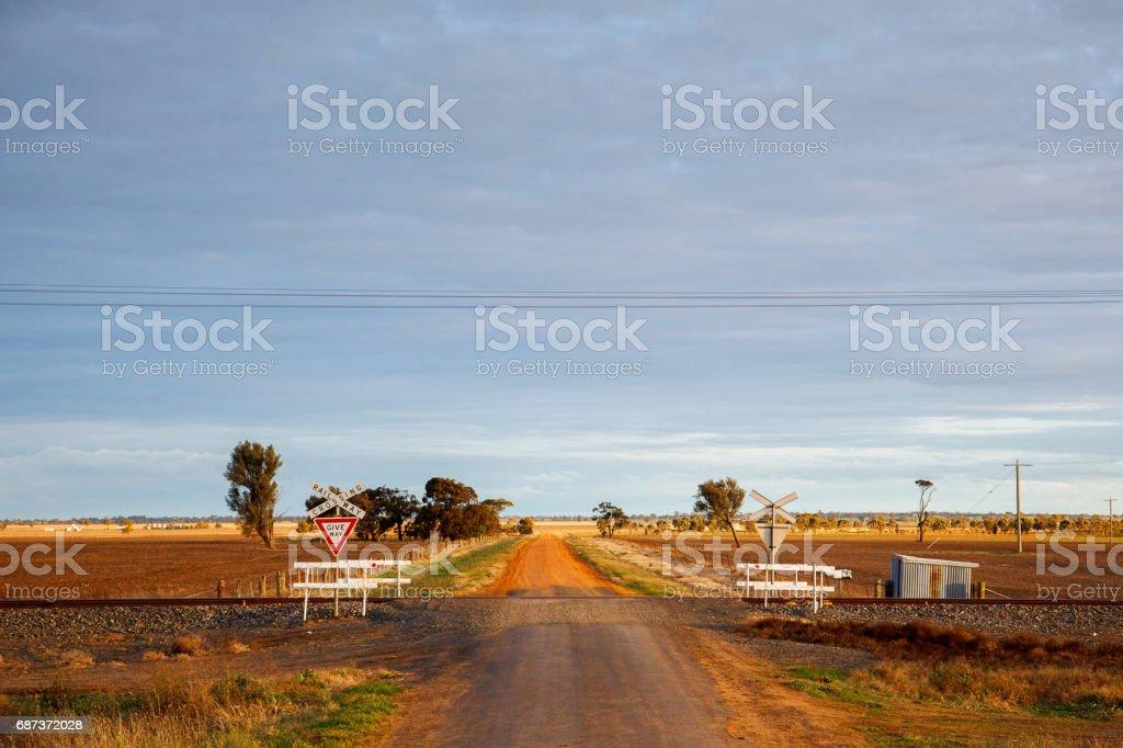 Railway Crossing, Outback Victoria, Australia stock photo