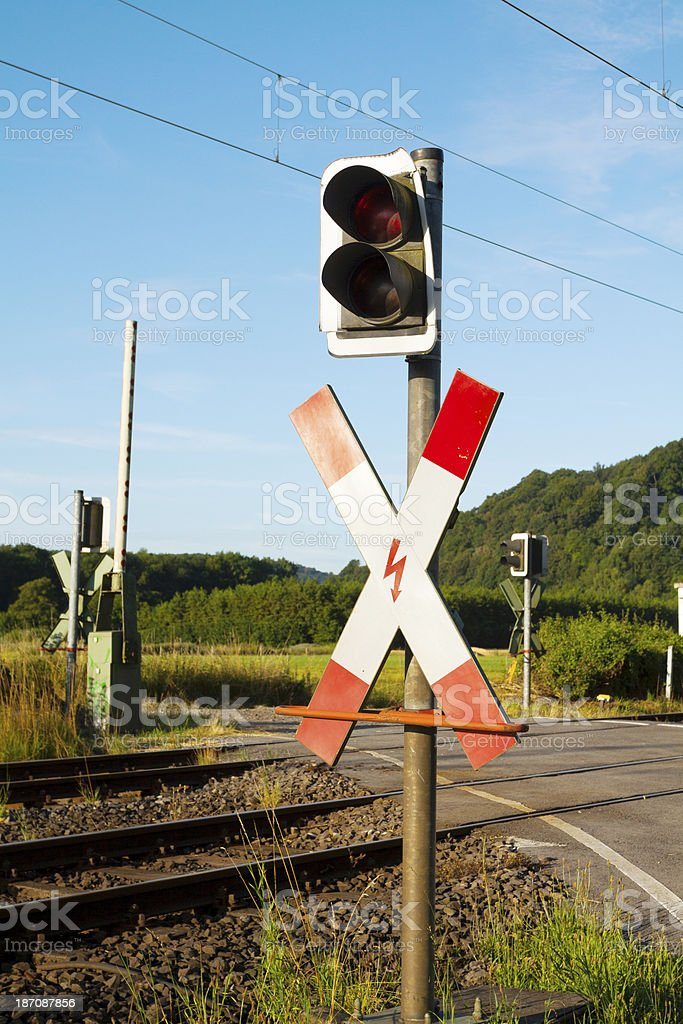 Railway crossing royalty-free stock photo