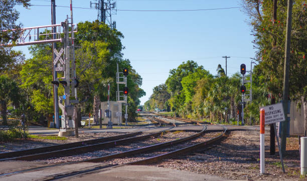 us railway crossing - railway signal stock photos and pictures