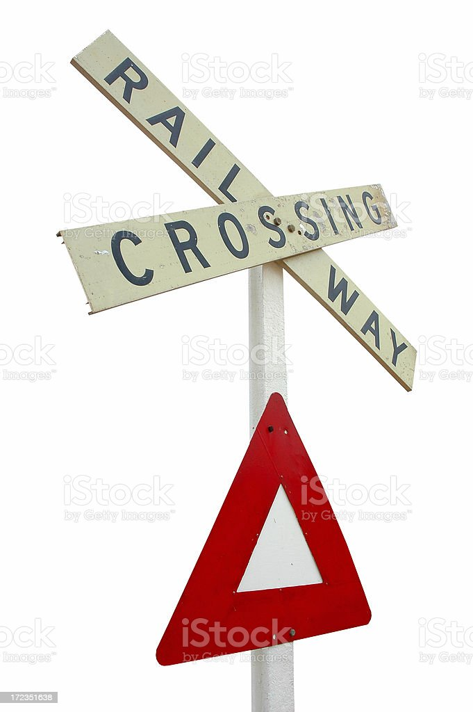 Railway crossing sign. Isolated royalty-free stock photo