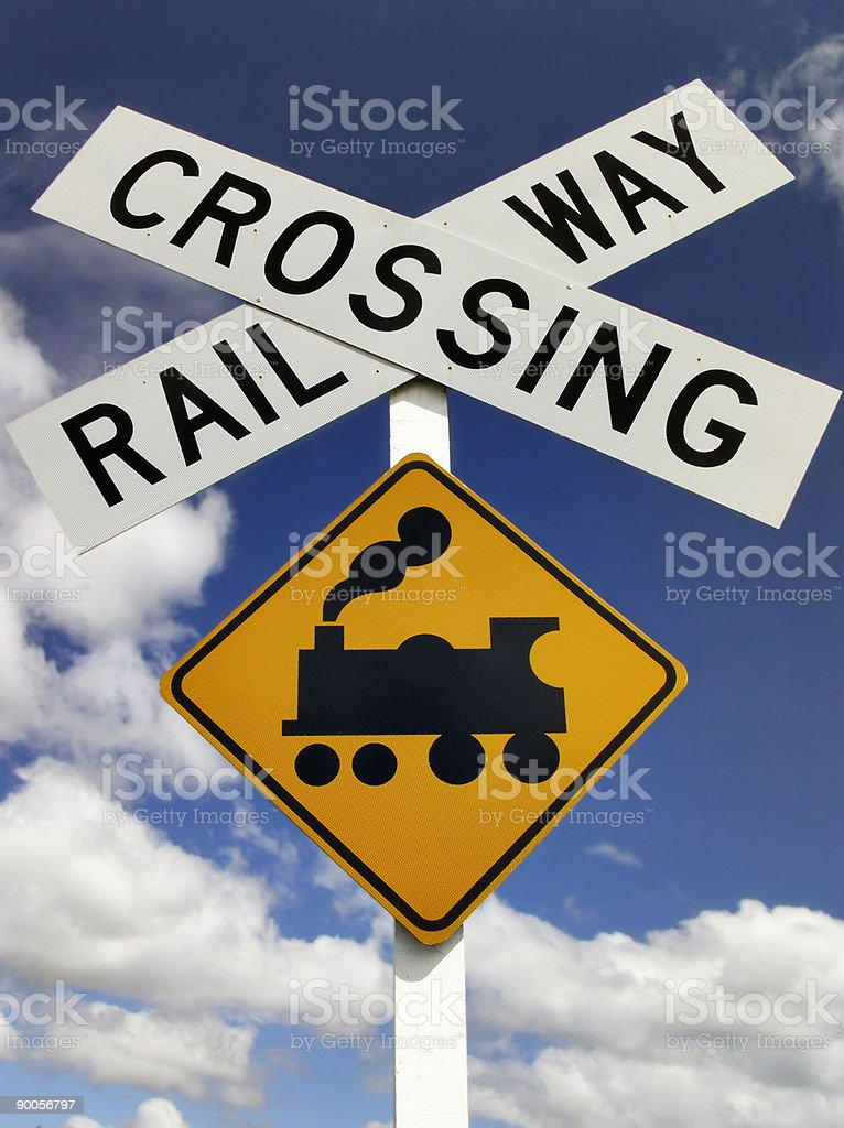 Railway Crossing Sign Stock Photo - Download Image Now - iStock