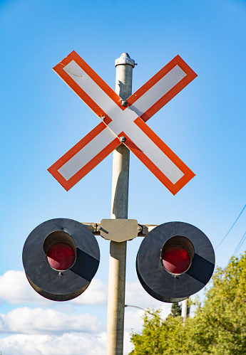 Railway Crossing Signals Closeup Stock Photo - Download