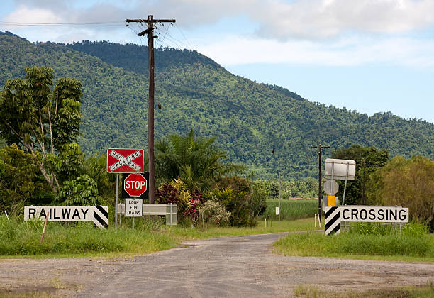 Railway Crossing Signs on a country road stock photo
