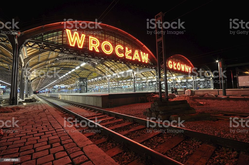Railway entrance main station Wroclaw neon at night royalty-free stock photo