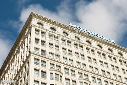 Сhicago, USA - July 23, 2014: The Motorola building also known as the Railway Exchange building on Michigan avenue across from the Art Institute late in the day.