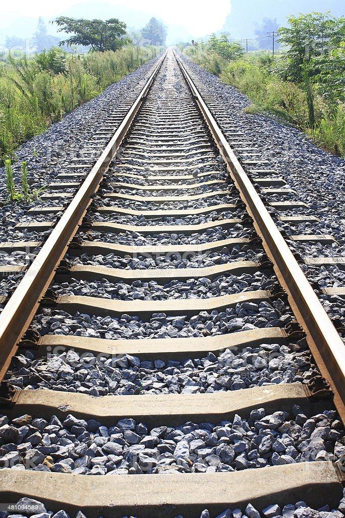 Railway extending to the horizon stock photo