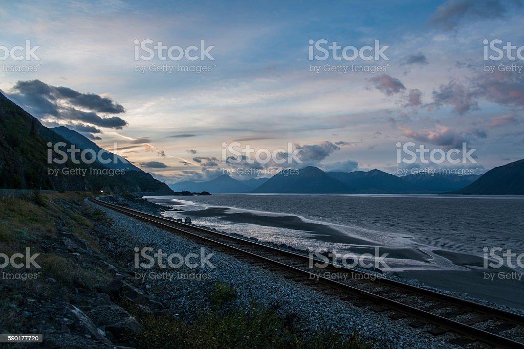 Railway from Anchorage to Seward stock photo