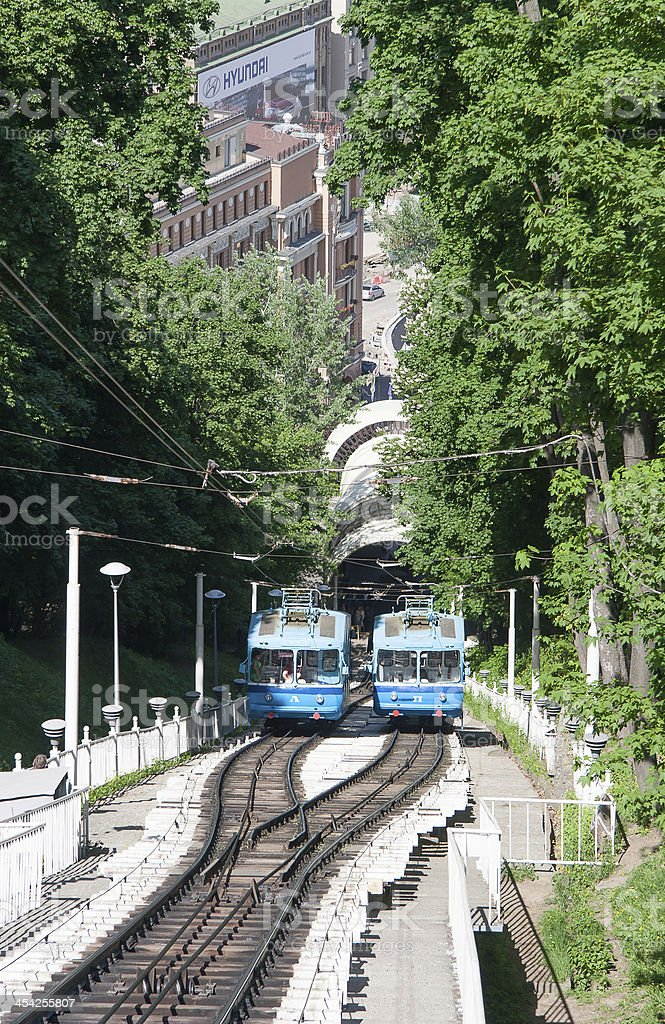 Railway funicular in Kyiv, Ukraine royalty-free stock photo