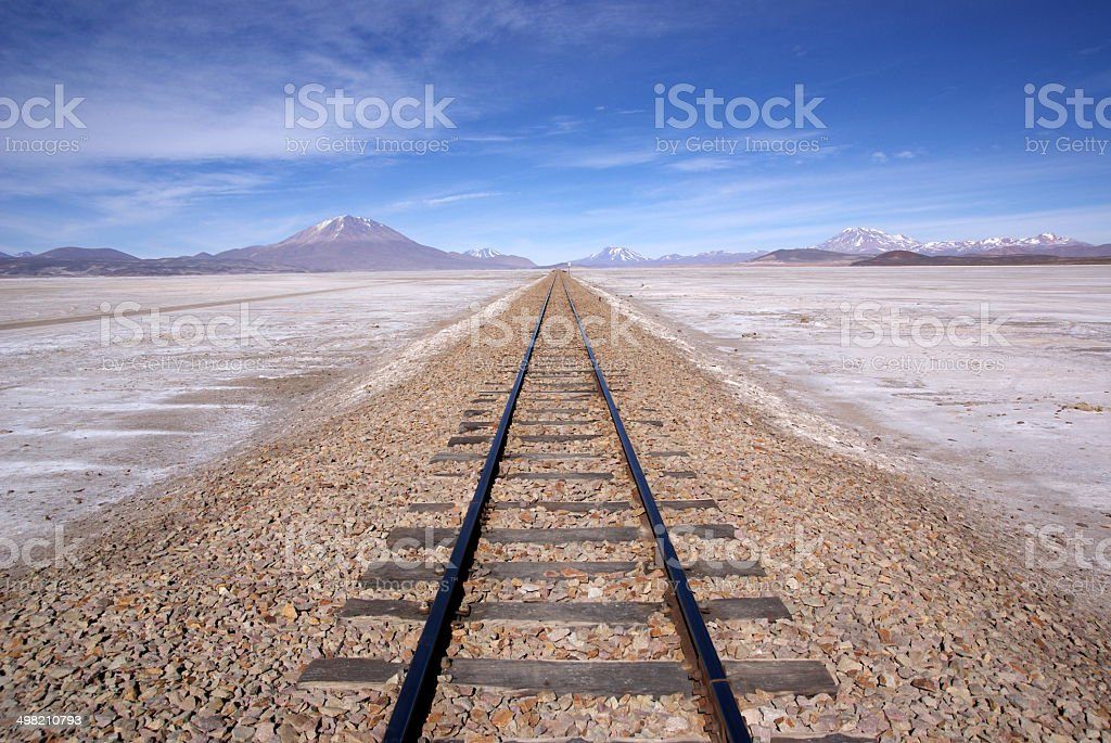 Railway in desert andean landscape, Bolivia stock photo