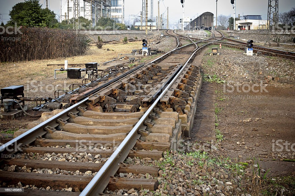 Railway in fog on station, outdoor landscape royalty-free stock photo