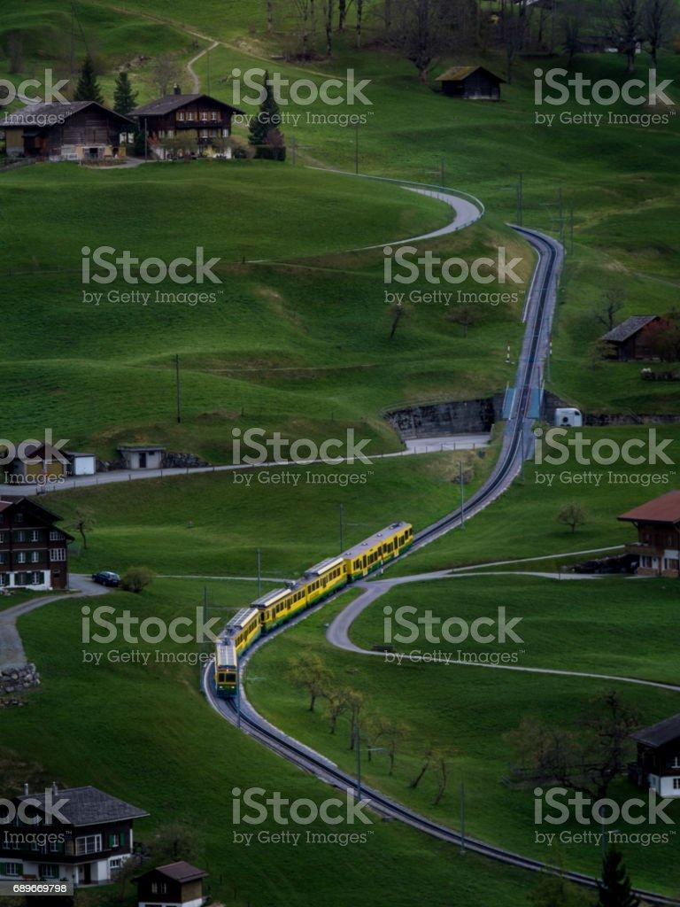 Railway in grindelwald, Switzerland stock photo