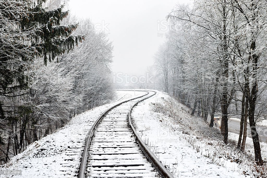 Railway in snow stock photo