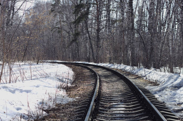 Railway in spring forest. stock photo