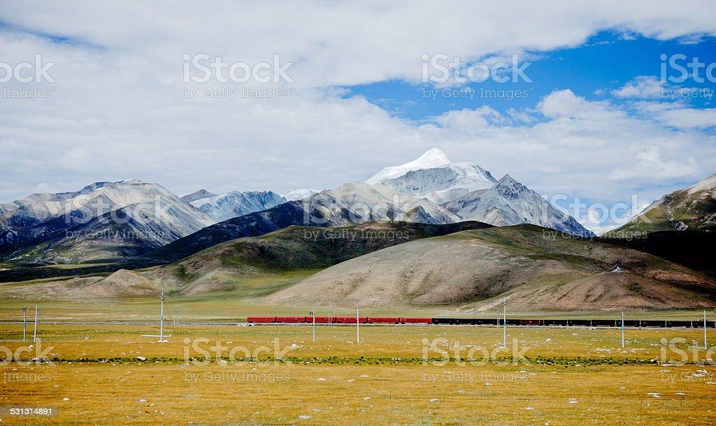 railway in the tibet,china stock photo