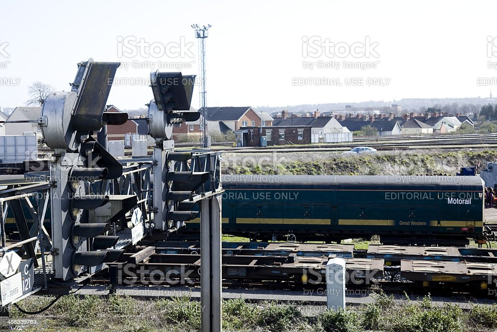 Railway infrastructure; Signals on an overhead gantry royalty-free stock photo