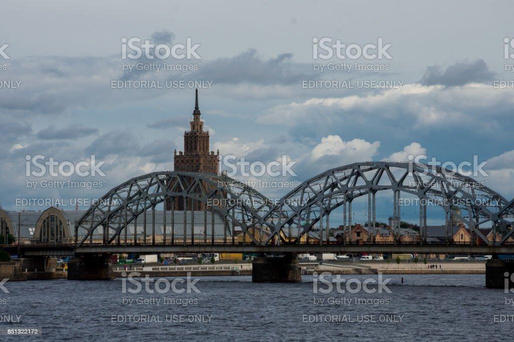 Railway Iron Bridge and Academy of Sciences stock photo