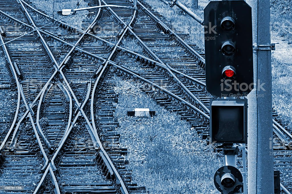Railway junction in blue background stock photo