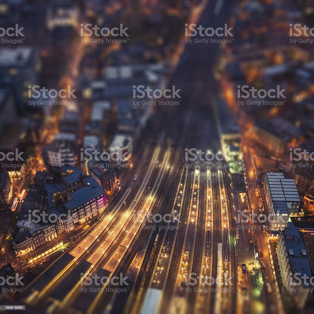 Railway junction in London  - aerial view stock photo