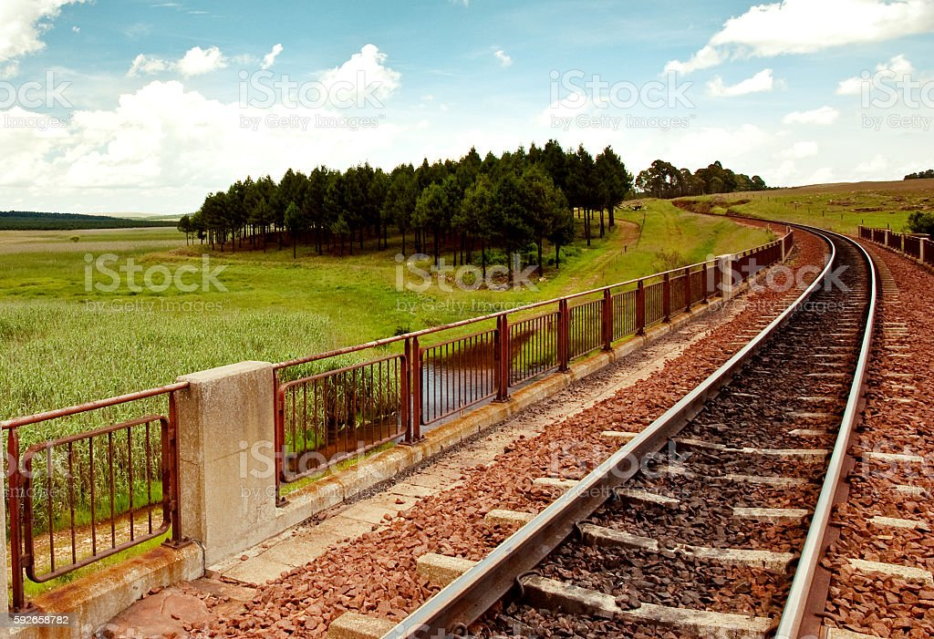 Railway Line in the Meadows stock photo