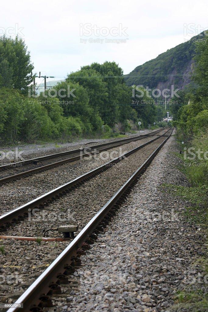 Железнодорожной линии в расстояние Стоковые фото Стоковая фотография