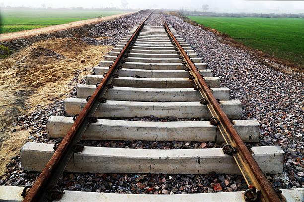 railway line through  green field hdr image - derail bildbanksfoton och bilder