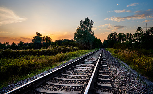 Railway lines infront of nature and the sunset