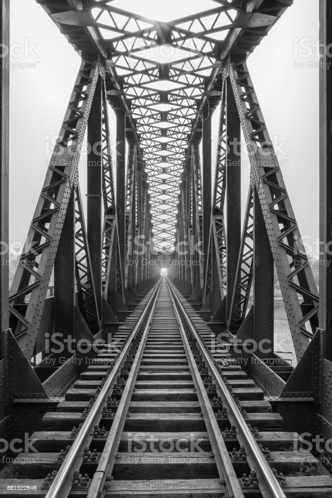Railway metal bridge perspective view,Adana,Turkey stock photo