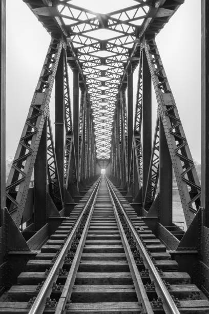 Railway metal bridge perspective view,Adana,Turkey Railway metal bridge perspective view,Adana,Turkey railway bridge stock pictures, royalty-free photos & images