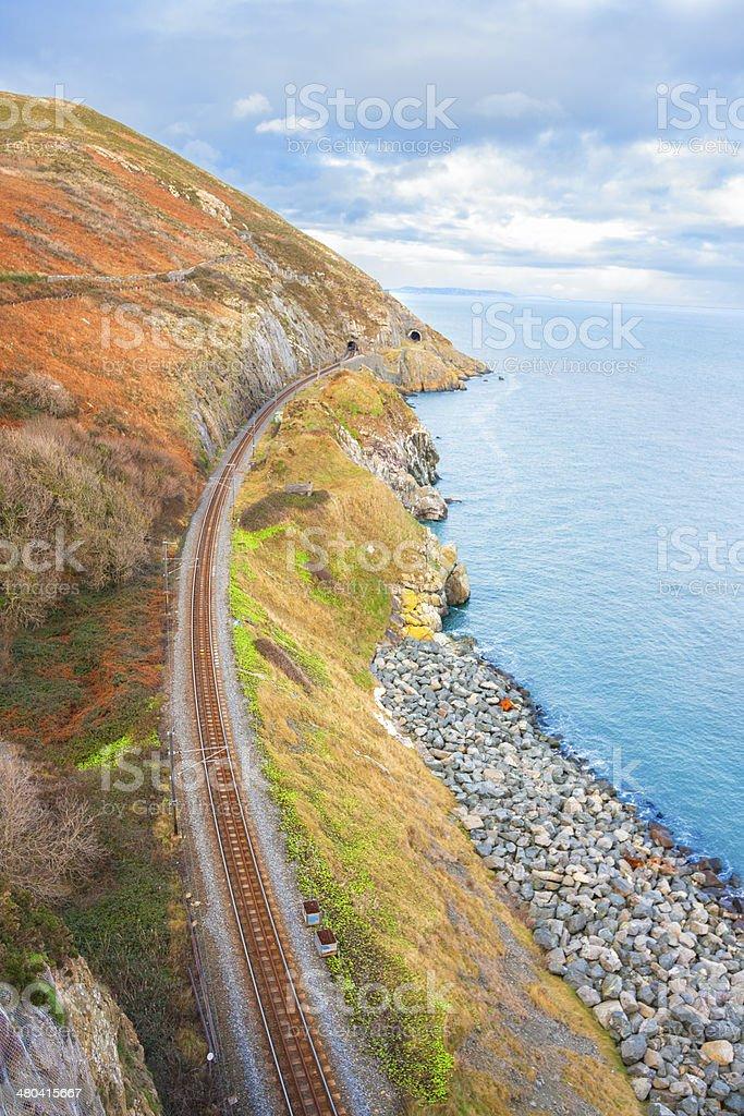 Railway next to the coast stock photo