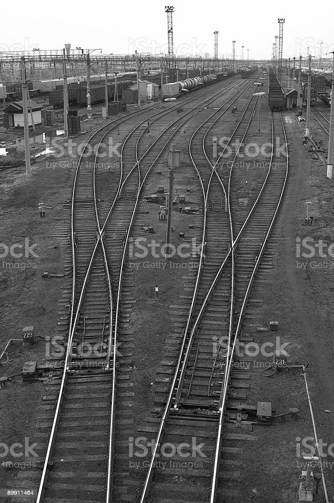Railway Octopus. Black and white royalty-free stock photo