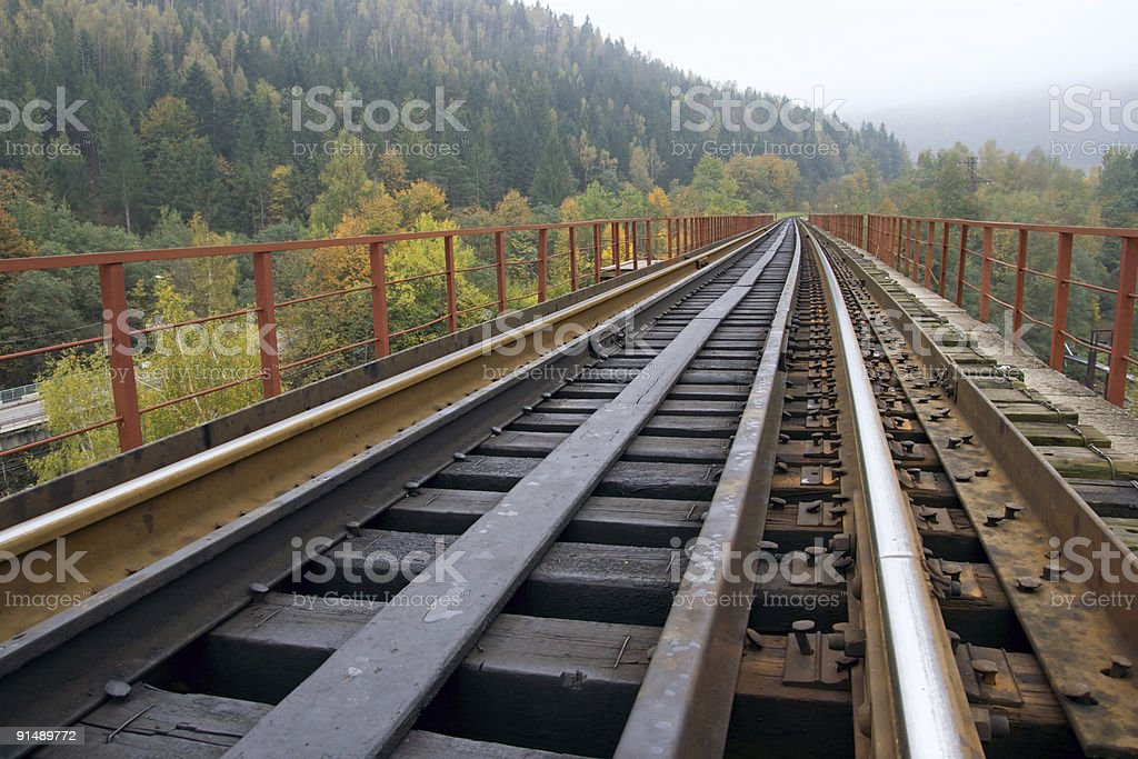 Railway on bridge across mountain river royalty-free stock photo